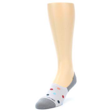 Image of Grey Polka Dot Men's No-Show Socks (side-2-front-07)