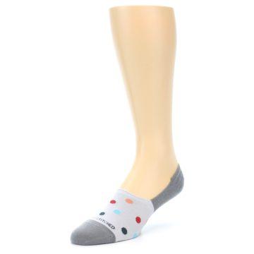 Image of Grey Polka Dot Men's No-Show Socks (side-2-front-08)