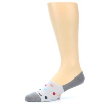 Image of Grey Polka Dot Men's No-Show Socks (side-2-10)