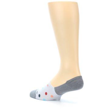 Image of Grey Polka Dot Men's No-Show Socks (side-2-back-14)