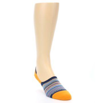 Image of Orange Blue Stripe Men's No-Show Socks (side-1-front-02)