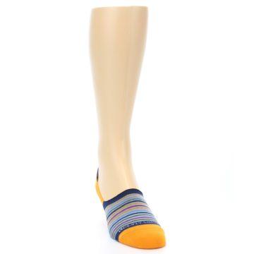 Image of Orange Blue Stripe Men's No-Show Socks (side-1-front-03)