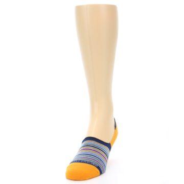 Image of Orange Blue Stripe Men's No-Show Socks (side-2-front-06)
