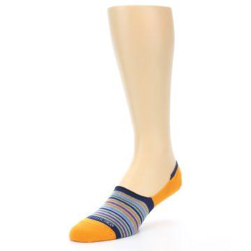 Image of Orange Blue Stripe Men's No-Show Socks (side-2-front-08)