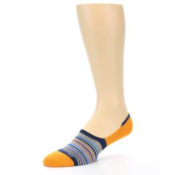 Image of Orange Blue Stripe Men's No-Show Socks (side-2-09)