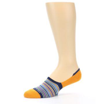 Image of Orange Blue Stripe Men's No-Show Socks (side-2-10)