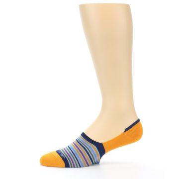 Image of Orange Blue Stripe Men's No-Show Socks (side-2-11)
