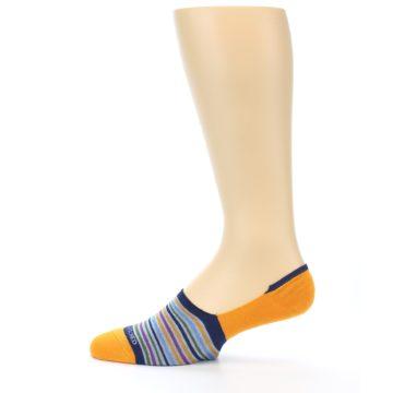 Image of Orange Blue Stripe Men's No-Show Socks (side-2-12)