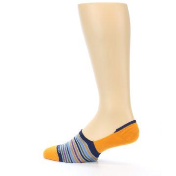Image of Orange Blue Stripe Men's No-Show Socks (side-2-13)