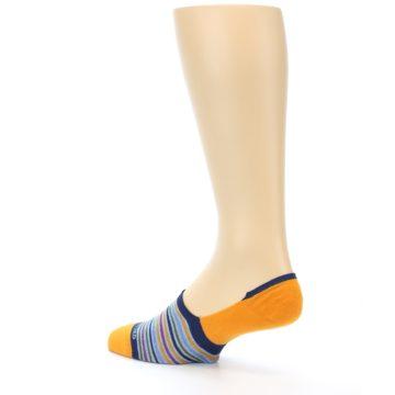 Image of Orange Blue Stripe Men's No-Show Socks (side-2-back-14)