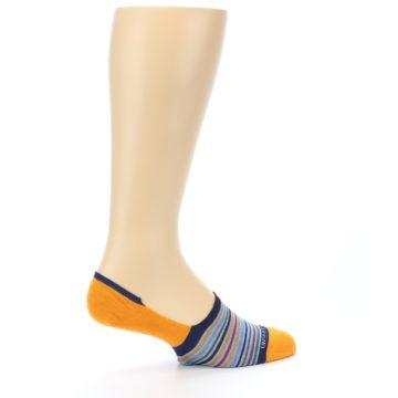 Image of Orange Blue Stripe Men's No-Show Socks (side-1-23)