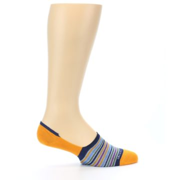 Image of Orange Blue Stripe Men's No-Show Socks (side-1-24)