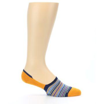 Image of Orange Blue Stripe Men's No-Show Socks (side-1-25)