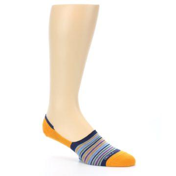 Image of Orange Blue Stripe Men's No-Show Socks (side-1-26)