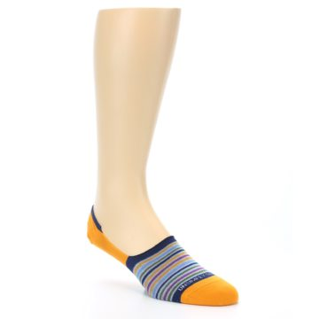 Image of Orange Blue Stripe Men's No-Show Socks (side-1-27)