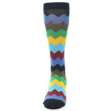 Image of Multi-Color Zig-Zag Stripe Men's Dress Socks (front-05)