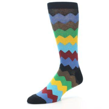 Image of Multi-Color Zig-Zag Stripe Men's Dress Socks (side-2-09)