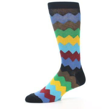 Image of Multi-Color Zig-Zag Stripe Men's Dress Socks (side-2-10)