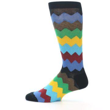 Image of Multi-Color Zig-Zag Stripe Men's Dress Socks (side-2-12)