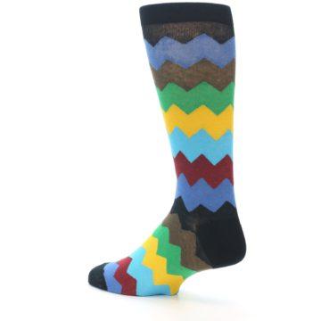 Image of Multi-Color Zig-Zag Stripe Men's Dress Socks (side-2-back-14)