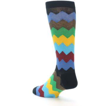 Image of Multi-Color Zig-Zag Stripe Men's Dress Socks (side-2-back-15)