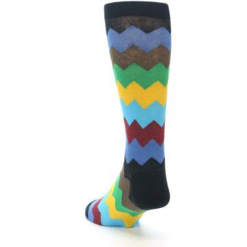 Image of Multi-Color Zig-Zag Stripe Men's Dress Socks (side-2-back-16)