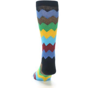 Image of Multi-Color Zig-Zag Stripe Men's Dress Socks (back-17)