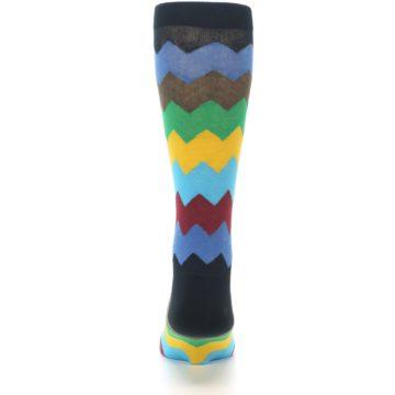 Image of Multi-Color Zig-Zag Stripe Men's Dress Socks (back-18)