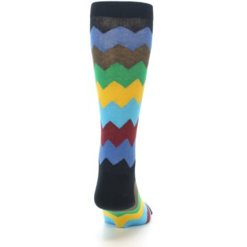 Image of Multi-Color Zig-Zag Stripe Men's Dress Socks (back-19)