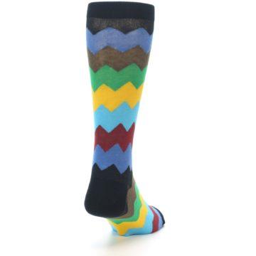 Image of Multi-Color Zig-Zag Stripe Men's Dress Socks (side-1-back-20)