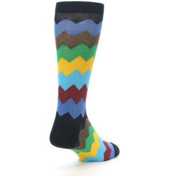 Image of Multi-Color Zig-Zag Stripe Men's Dress Socks (side-1-back-21)