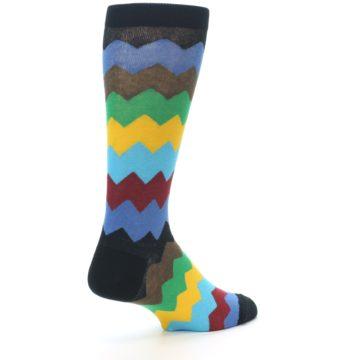 Image of Multi-Color Zig-Zag Stripe Men's Dress Socks (side-1-back-22)