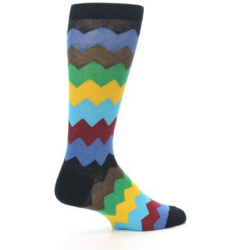 Image of Multi-Color Zig-Zag Stripe Men's Dress Socks (side-1-23)