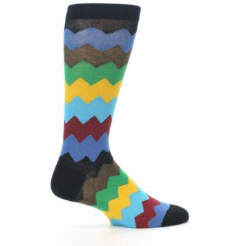 Image of Multi-Color Zig-Zag Stripe Men's Dress Socks (side-1-24)