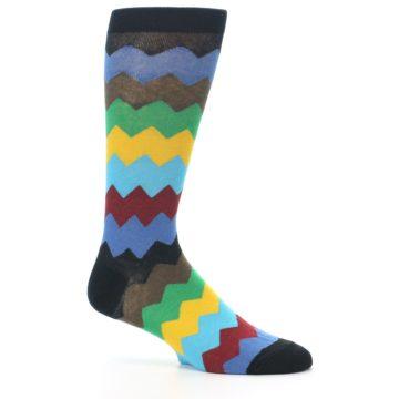 Image of Multi-Color Zig-Zag Stripe Men's Dress Socks (side-1-25)