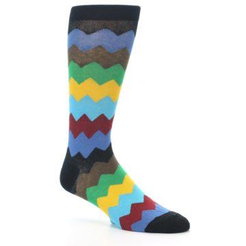 Image of Multi-Color Zig-Zag Stripe Men's Dress Socks (side-1-26)