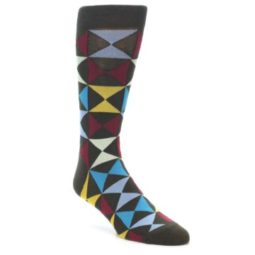 Image of Brown Multi-Color Triangles Men's Dress Socks (side-1-front-01)