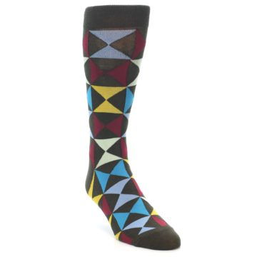 Image of Brown Multi-Color Triangles Men's Dress Socks (side-1-front-02)