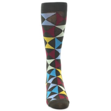 Image of Brown Multi-Color Triangles Men's Dress Socks (front-04)