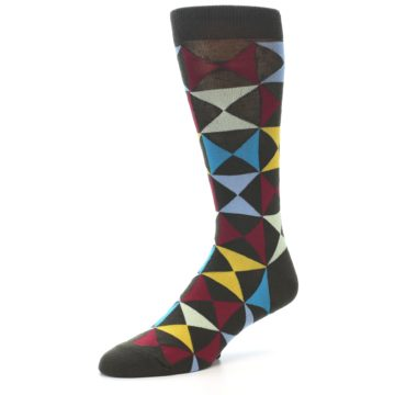 Image of Brown Multi-Color Triangles Men's Dress Socks (side-2-09)