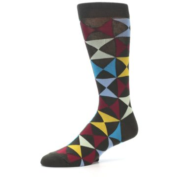 Image of Brown Multi-Color Triangles Men's Dress Socks (side-2-10)