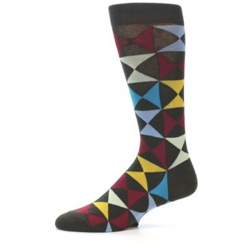 Image of Brown Multi-Color Triangles Men's Dress Socks (side-2-11)