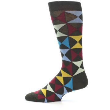 Image of Brown Multi-Color Triangles Men's Dress Socks (side-2-12)