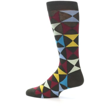 Image of Brown Multi-Color Triangles Men's Dress Socks (side-2-13)