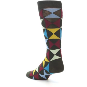 Image of Brown Multi-Color Triangles Men's Dress Socks (side-2-back-15)
