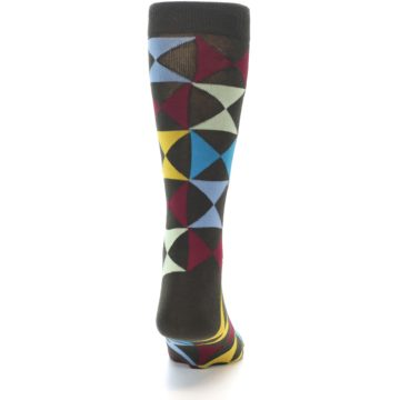 Image of Brown Multi-Color Triangles Men's Dress Socks (back-19)