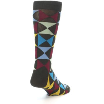 Image of Brown Multi-Color Triangles Men's Dress Socks (side-1-back-21)