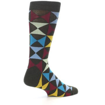 Image of Brown Multi-Color Triangles Men's Dress Socks (side-1-23)