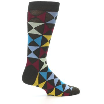 Image of Brown Multi-Color Triangles Men's Dress Socks (side-1-24)