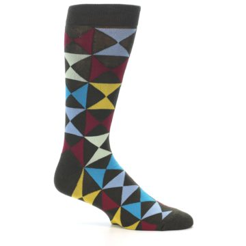 Image of Brown Multi-Color Triangles Men's Dress Socks (side-1-25)